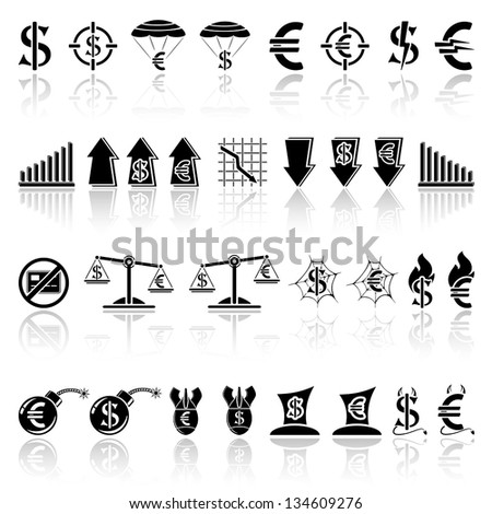 Set of black crisis icons, illustration.