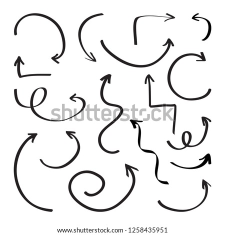 Set of black different arrows, hand draw. Vector illustration