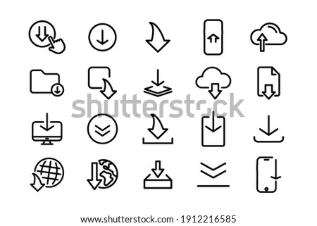 Set of black download icons. Download icon set for web site or application. Download arrows collection button. Arrow down document file symbol icon. Download file Arrow button