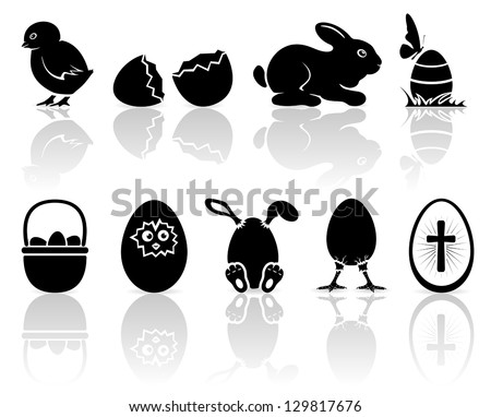Set of black Easter icons on white background, illustration.