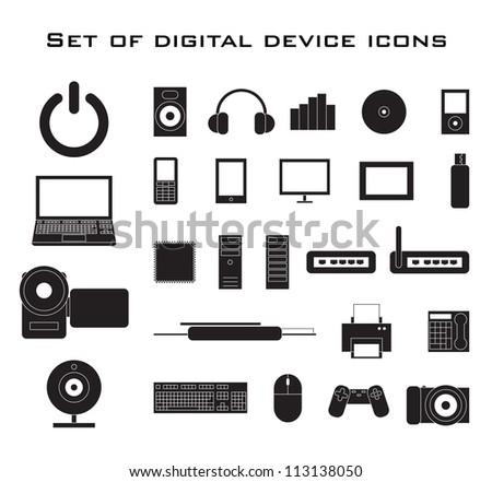 Set of black electronic device icons.