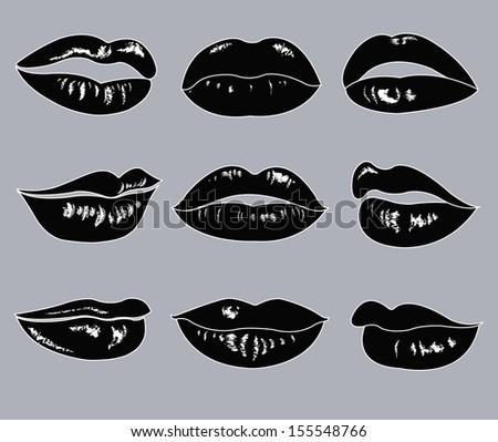 Lips Vector Black Set Of Black Female Lips Stock