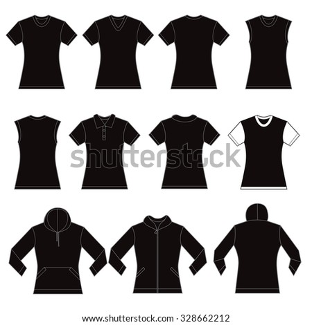set of black female shirt