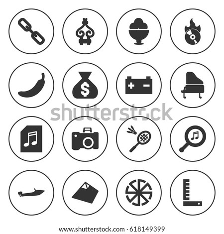 set of 16 black filled icons