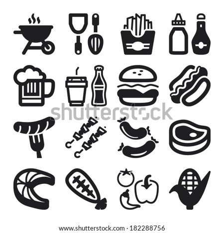 Set of black flat icons about barbecue.