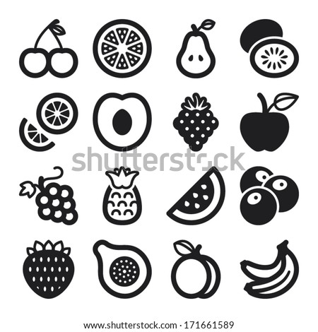 Set of black flat icons about fruit