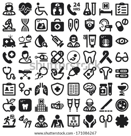 Set of black flat icons about health