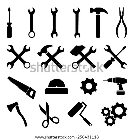 set of black flat icons   tools