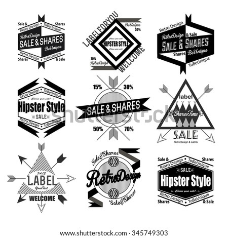 Set of black flat, lane hipster vintage retro labels, stamps, signs, marks and calligraphy, text and stickers for web, abstract banners, sale and shares, cafe stamps and music advertising, traveling