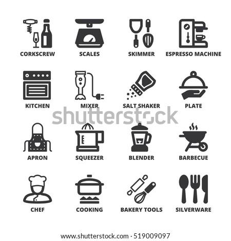 Set of black flat symbols about cooking