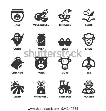 Set of black flat symbols about farming