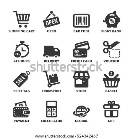Set of black flat symbols about shopping