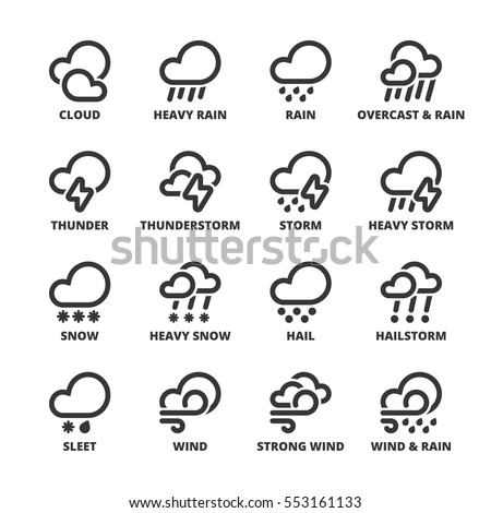 Set of black flat symbols about  the weather. Bad weather