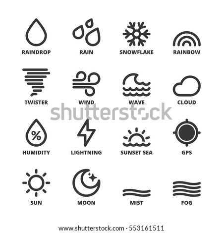 Set of black flat symbols about the weather. Forecast symbols