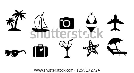 Set of black flat travel and vacation vector icons. Palm tree, sailing ship, camera, bikini swimsuit, plane, sunglasses, suitcase, drink, starfish and sunbed, eps10 file