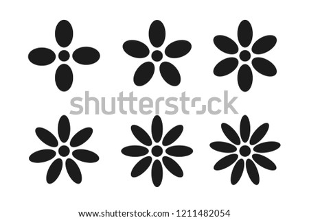 set of black flower icons with