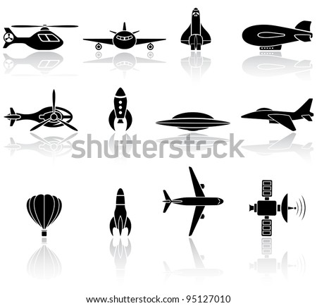 Set of black flying icons on white background, illustration