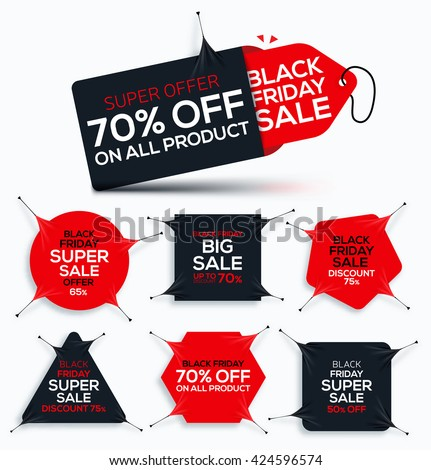 Set of Black Friday banners from stretch fabric for Sale and Discount. New offer. Vector illustration.