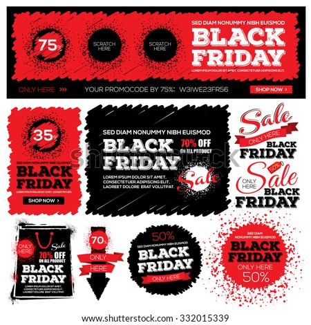 Set of black friday sale. Black friday banner. Vector illustration. Grouped for easy editing.