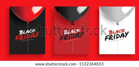 Set of Black friday super sale background, balloons with rope. Design for poster banner card, 3d realistic vector illustration