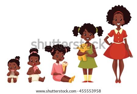 set of black girls from newborn