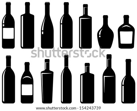 set of black glossy wine bottles with highlight