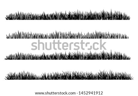 set of black grass silhouettes