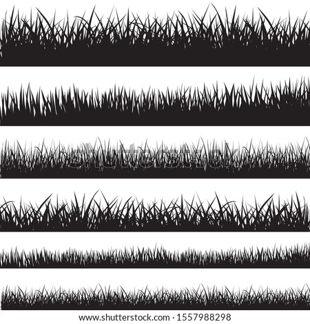 Set of black grass silhouettes - stock vector.
