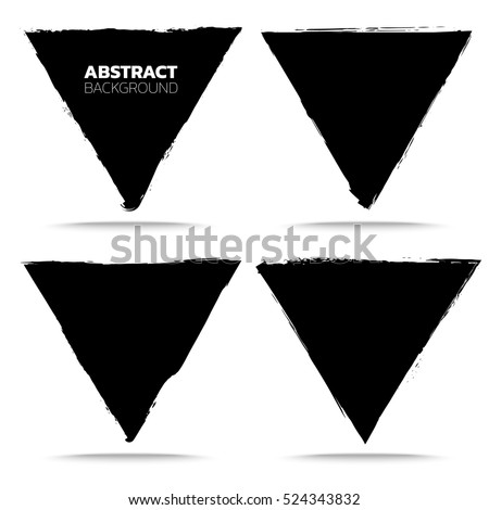 Set of black grunge abstract background templates. Brush paint ink triangle shaped elements. For headline, logo, poster, message, sale banner