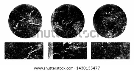 Set of black grunge round and rectangle stamps on white background. Set of web icons. Badges and labels various shapes.  Vector illustration