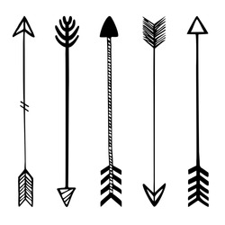 Set of black hand drawn arrows. Hipster ethnic vector elements