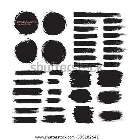 Set of black hand drawn brushes and design elements on white background. Grunge brush stroke. Artistic creative shapes. Vector illustration. #595182641