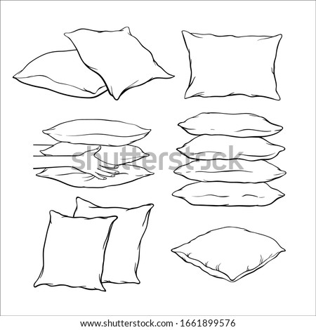 Set of black hand-drawn sketch style pillows - one, two, stack of four, hand holding pile of three pillows, vector illustration isolated on white background. Set of hand-drawn, sketch style pillows