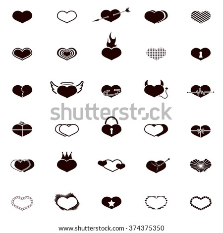 set of black hearts icons