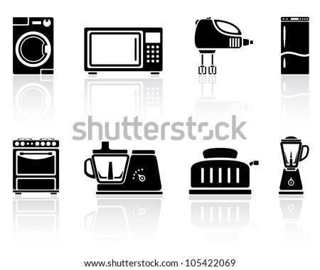 Set of black home appliances icons, illustration.