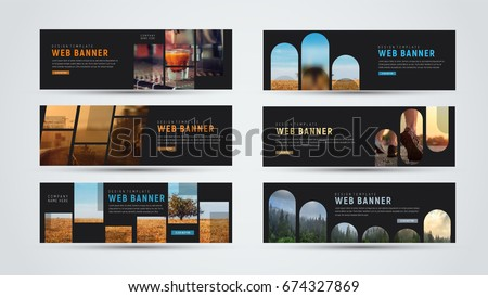 set of black horizontal web banners of standard size with different geometric elements and designs for photos. Vector template;