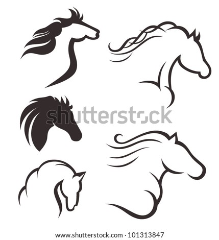 Set of black horses