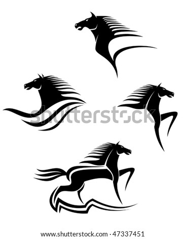 Set of black horses symbols for design isolated on white such as emblem or logo template Jpeg version is also available