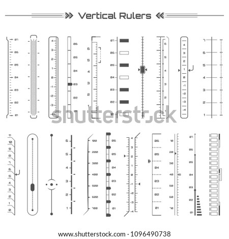 Set of black hud vertical rulers infographic elements. Futuristic user interface. Virtual graphic. Infographic elements. Digital dashboard panel illustration