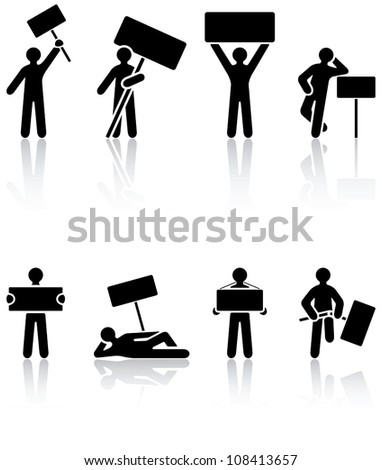 Set of black Human icons on white background, illustration