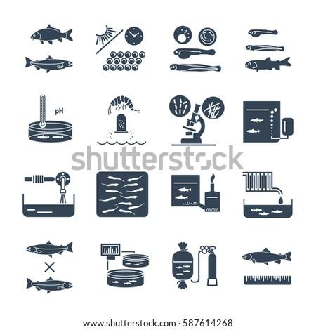 set of black icons aquaculture production process, fish farming