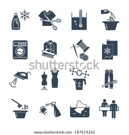 set of black icons dry cleaning