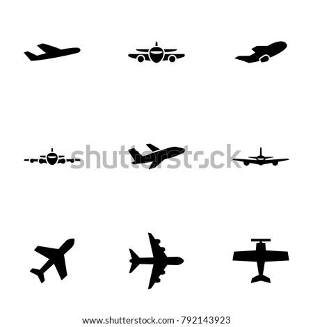 set of black icons isolated on