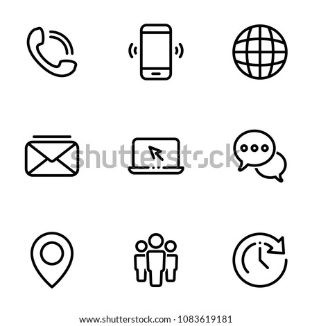 Set of black icons isolated on white background, on theme Contact Us