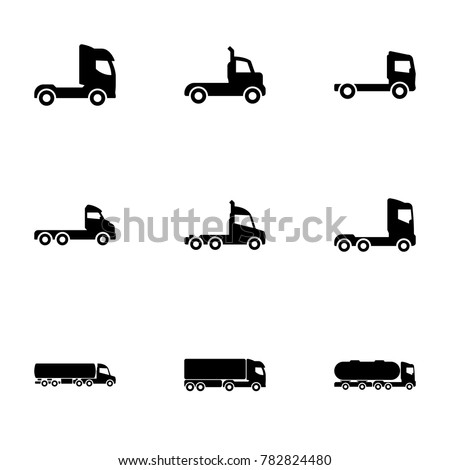 Set of black icons isolated on white background, on theme Trucks, side view