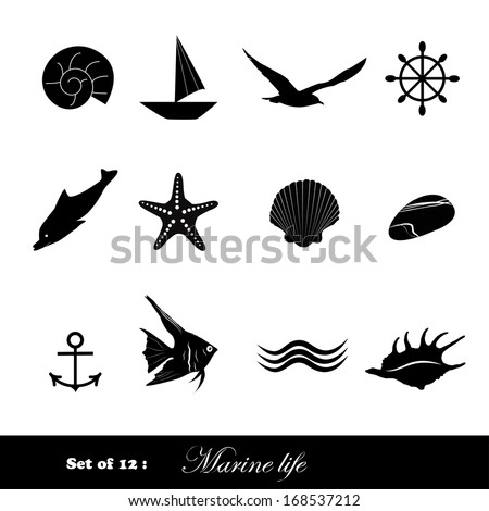 set of black icons marine life