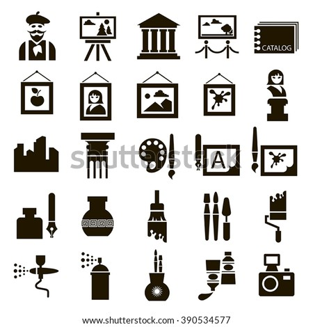 Set of 25 black icons of art on a white background