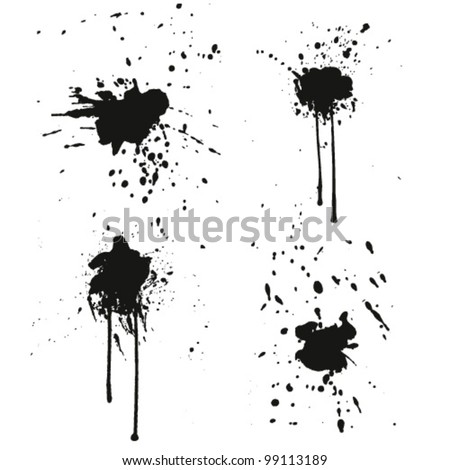 Set of black ink blots and stains. vector illustration - stock vector