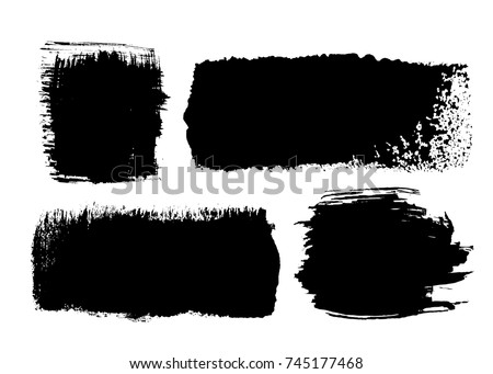Set of black ink brush strokes rectangular and square shapes for decor of banners, frames, inscriptions, logos in grunge design