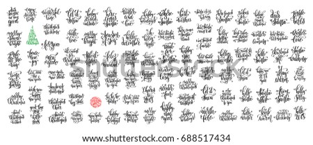 set of 100 black ink christmas and happy new year celebration holidays hand lettering quotes to greeting card, banner, poster, calligraphy vector illustration collection